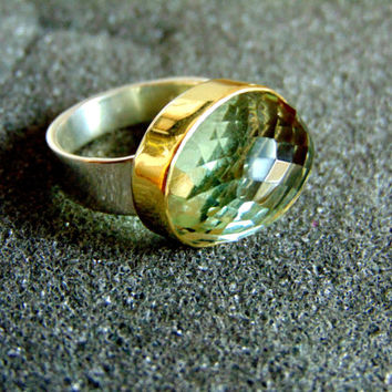 Beautiful sterling silver, 18k gold and aqua marine ring-Women's statement ring-Women's gemstone ring-Artisan jewelry-Greek art