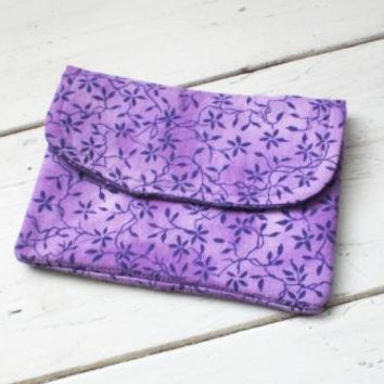 Fabric wallet, purple wallet, velcro closure, fully lined, double pockets, women's accessory, ready to ship, handmade, coupon holder, cotton