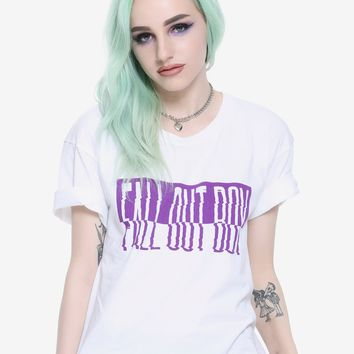 Fall Out Boy Distorted Logo Girls Crop Top