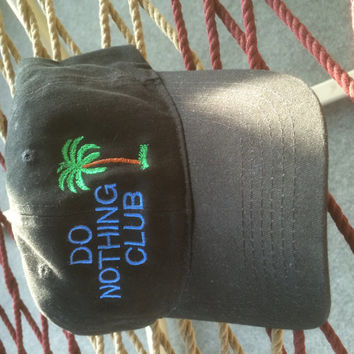 Do Nothing Club Cap- Black Floppy w/Blue Lettering