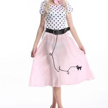 CREY6F FREE SHIPPING Womens 50's Style Cute Poodle Skirt Grease Halloween Outfit Dance Dress Costume 392