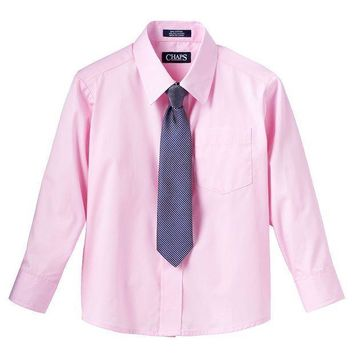 Chaps Button Down Shirt & Tie Set   Boys 4 7 Size: