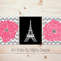 Pink Black Wall Art Eiffel Tower Paris Print Teen Girl Bedroom Wall Art Bathroom Decor Floral Burst Artwork Dahlia Flower Girls Room #1059