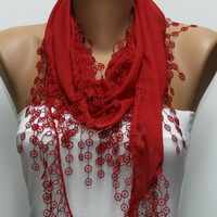 ON SALE - Red Scarf  - Cotton  Scarf -  Cowl Scarf with Lace Edge   - fatwoman