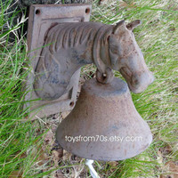 Vintage wall mount iron horse bell - rustic bell - country dinner bell - garden decor
