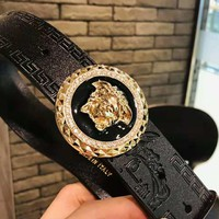 Versace Trenidng Women Men Diamond Smooth Buckle Leather Belt