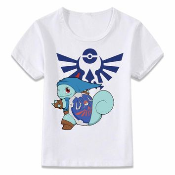 Kids Clothes T Shirt Squirtle Pikachu  Link Zelda Funny Crossover Children T-shirt for Boys and Girls Toddler Shirts TeeKawaii Pokemon go  AT_89_9