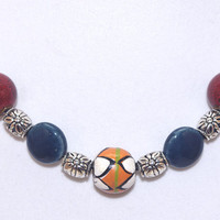 Orange white green African bead black leather cord short necklace Red blue ceramic silver plated bead Adjust string Colorful ethnic choker