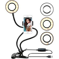 B-Land Cell Phone Holder with Selfie Ring Light for Live Stream, Flexible Mobile Phone Clip Holder Lazy Bracket Desk Lamp LED Light for Bedroom, Office, Kitchen, Bathroom (Black)