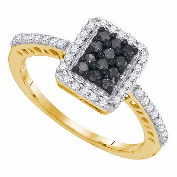 10kt Yellow Gold Womens Round Black Color Enhanced Diamond Cluster Ring 3/8 Cttw