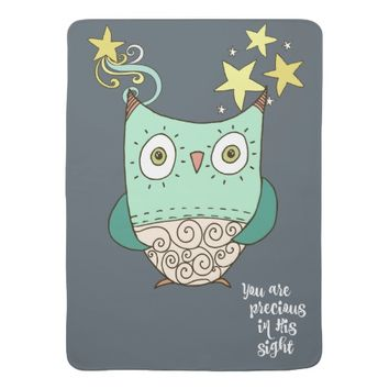 Owl with You are Precious in His Sight Lyrics Baby Blankets
