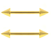 """Pair of 2 Gold Ion Plated Double Spike End Nipple Ring Bars - 14 Gauge 5/8""""(16mm) Barbells"""