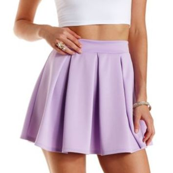 Box Pleated Skater Skirt by Charlotte Russe