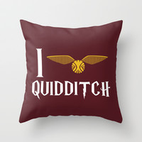 I love Quidditch Throw Pillow by Danielle Podeszek