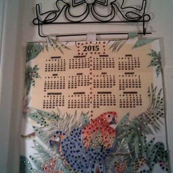 2015 PARROT SEQUIN CALENDAR New Year Wall Decor Tea Towel 2015 Wall Hanging Office Decor @015 Calendar Christmas Gift Bird Lover Gift