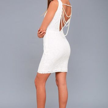 Precious Pearls White Lace Backless Dress