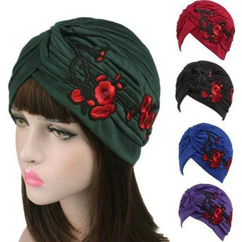 DCCK8JO 2017 New Arrival Knitted hat Women Embroidery Hats 9 Colors Cancer Chemo Hat Beanie Scarf Turban Head Wrap Cap