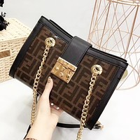 Fendi New fashion more letter print chain high quality crossbody shoulder bag women
