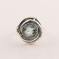 Blue Topaz Sterling Silver Nest Ring