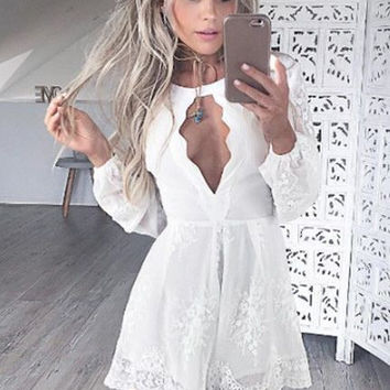 White Lace Long Sleeve Homecoming Dress