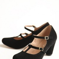 maddy corduroy black pumps by Chelsea Crew at ShopRuche.com