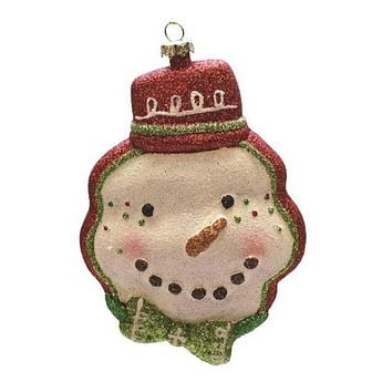 """5.75"""" Merry & Bright Whimsical Snowman Head with Festive Hat Shatterproof Christmas Ornament"""