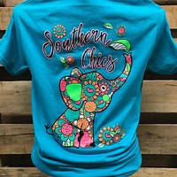 Southern Chics Flower Heart Elephant Girlie Bright T Shirt