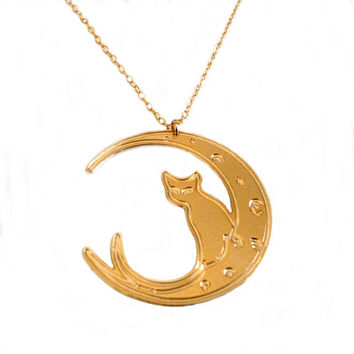 Cat On The Moon Necklace Gold Filled Sterling Silver Necklace Animal Icon Jewelry Design Art Logo Necklace Jewelry Pendant Charm Dainty