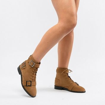ASOS DESIGN Wide Fit Arabelle leather lace up boots at asos.com