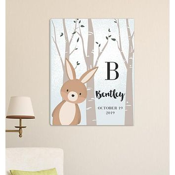 "Personalized Woodland Animal Canvas 18""x24"""