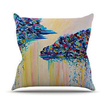 "Ebi Emporium ""Silver Linings"" Beige Blue Throw Pillow"