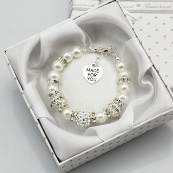 New Personalised Girl baby Birthday Gift Charm Bracelet Daughter With Box white