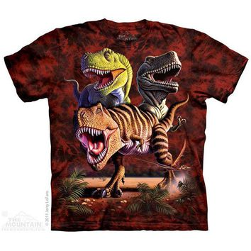New T REX DINOSAUR COLLAGE YOUTH CHILD  T SHIRT -
