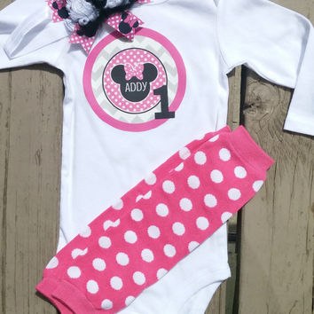Minni Mouse Birthday Outfit - Pink Polka Dot - Onesuit or Shirt - Cake Smash - Photos