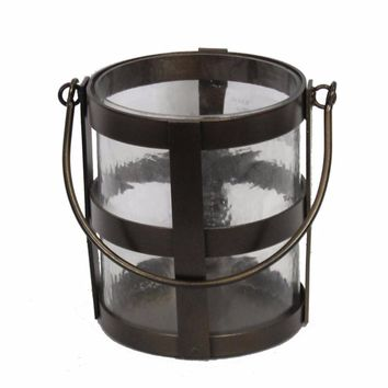 Appealing Metal/Glass Candle Holder In Bucket Style, Brown By Benzara