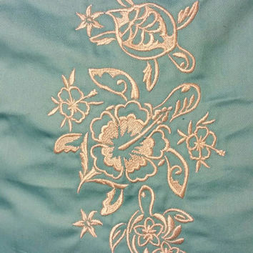 Sea turtles and flowers  handmade embroidered pillow cover