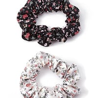 FOREVER 21 Wild Floral Scrunchie Set Black/Cream One