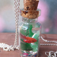 Goldfish Jar Necklace Pendant made from resin and polymer clay - rainbow pebbles.