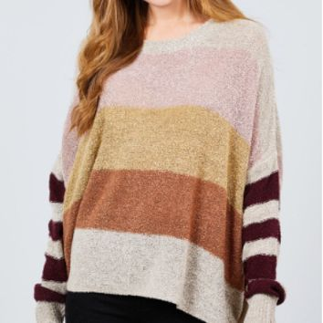 LONG DOLMAN SLEEVE ROUND NECK MULTI COLOR BLOCK SWEATER OATMEAL