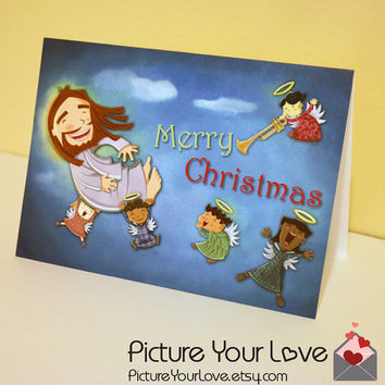 Christmas Card: Christian Christmas Card, Cartoon Jesus, Angels, Unique Holiday Cards, Praise The Lord
