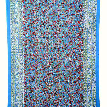 Twin Hand Block Print  Cotton Bed cover,Tapestry,Bed Sheet,Throw,Tapestry,Wall Hanging, Hippie Wall Hanging, Wall Decorative Art,Table cover