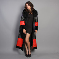 60s Glam LEATHER & Curly LAMB Fur COAT / Striped princess maxi Coat, s-m