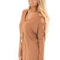 Camel Top with Ladder Cut Cold Shoulder Long Sleeves