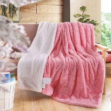 DaDa Bedding Luxury Rose Buds Blushing Baby Pink Reversible Faux Fur with Sherpa Backside Fleece Throw Blanket (BL-171752)