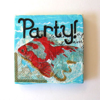 Beach Art Magnet, Original Mixed Media, Mini Canvas, Home Decor, Beach Cottage Decor