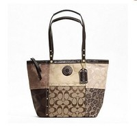 Coach Signature Metallic Patchwork Studded Tote Shoulder Bag 20075