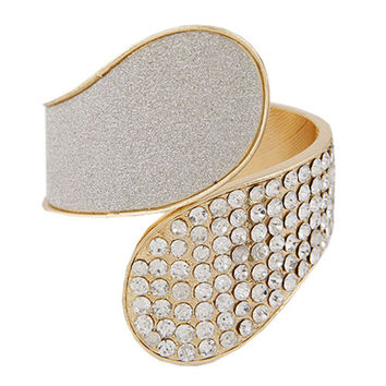 New Arrival Shiny Stylish Jewelry Punk Geometric Style Rhinestone Metal Ring Bangle [6324473156]