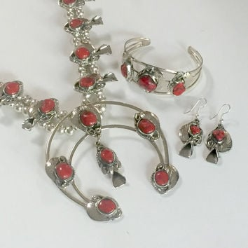 Red Coral Squash Blossom Necklace SET  with earrings cuff bracelet new mexico genuine stones sterling silver boho 70s healing indian jewelry
