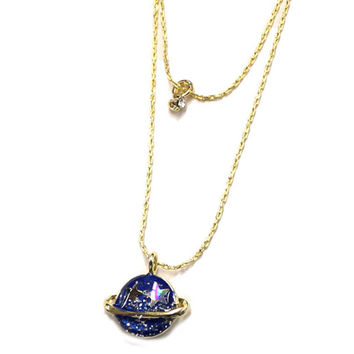 Alloy Cosmic Planet Moon Star Pendant Necklaces for women