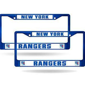 New York Rangers Blue Painted Chrome Metal (2) License Plate Frame Set